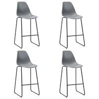 vidaXL Cadeiras de bar 4 pcs plástico cinzento