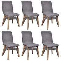 vidaXL Cadeiras jantar 6 pcs tecido cinzento-claro e carvalho maciço