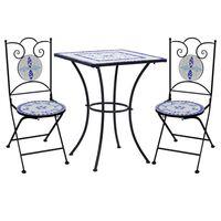 vidaXL 3 pcs conjunto bistro em mosaico azulejos cerâmica azul/branco