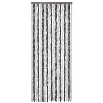 vidaXL Cortina anti-insetos 90x220 cm chenille cinzento e branco