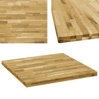 vidaXL Tampo de mesa madeira de carvalho maciça quadrado 44 mm 80x80cm