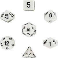 Pacote de 7 dados de RPG (para Dungeons and Dragons, etc.) Branco