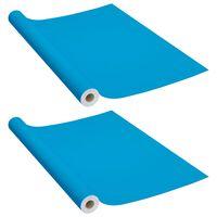 vidaXL Autocolante para móveis 2 pcs 500x90 cm PVC azul-ciano