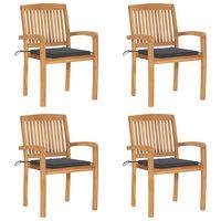 vidaXL Cadeiras de jardim empiháveis c/ almofadões 4 pcs teca maciça