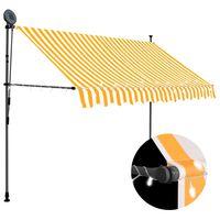 vidaXL Toldo retrátil manual com LED 300 cm branco e laranja