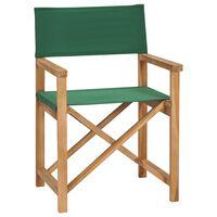 vidaXL Cadeira de realizador dobrável madeira de teca maciça verde