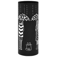 vidaXL Suporte para guarda-chuvas c/ mulheres aço preto