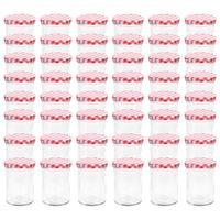 vidaXL Frascos de vidro com tampas brancas e vermelhas 48 pcs 400 ml