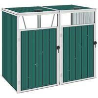 vidaXL Abrigo para caixote do lixo duplo 143x81x121 cm aço verde