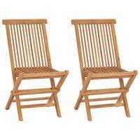 vidaXL Cadeiras de jardim dobráveis 2 pcs madeira teca maciça