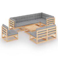 vidaXL 9 pcs conjunto lounge de jardim com almofadões pinho maciço