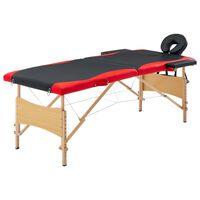 vidaXL Mesa de massagens dobrável 2 zonas madeira preto e vermelho