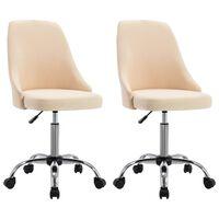 vidaXL Cadeiras de escritório com rodas 2 pcs tecido cor creme