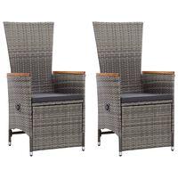 vidaXL Cadeiras jardim reclináveis 2 pcs + almofadões vime PE cinzento