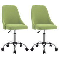 vidaXL Cadeiras de escritório com rodas 2 pcs tecido verde
