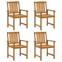 vidaXL Cadeiras de realizador 4 pcs madeira de acácia maciça