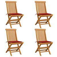 vidaXL Cadeiras de jardim c/ almofadões vermelhos 4 pcs teca maciça
