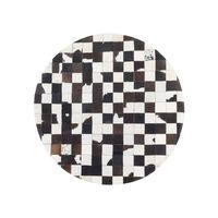 Tapete Preto e Branco - Diâmetro 140 cm - Pele Genuína - BERGAMA