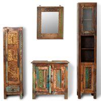 Conjunto armários, madeira recuperada, 2 gabinetes laterais + espelho