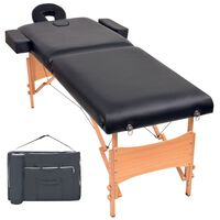 vidaXL Mesa de massagem dobrável de 2 zonas 10 cm espessura preto