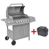 vidaXL Grelhador/barbecue a gás 6+1 queimadores prateado