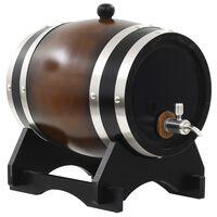 vidaXL Barril de vinho com torneira em madeira de pinho maciça 6 L
