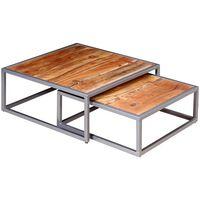 vidaXL Conjunto de mesas de centro 2 pcs madeira de acácia maciça
