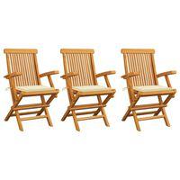 vidaXL Cadeiras de jardim c/ almofadões creme 3 pcs teca maciça