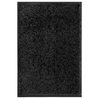 vidaXL Tapete de porta lavável 40x60 cm preto