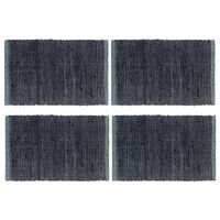 vidaXL Individual de mesa 4 pcs chindi algodão liso 30x45 cm antracite