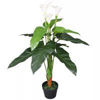 vidaXL Planta jarro artificial com vaso 85 cm branco