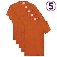 Fruit of the Loom T-shirts originais 5 pcs algodão 3XL laranja