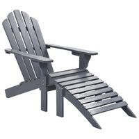 vidaXL Cadeira de jardim com otomano madeira cinzento