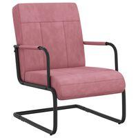 vidaXL Cadeira cantilever veludo rosa