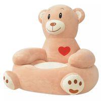 vidaXL Cadeira em pelúcia infantil, urso, castanho