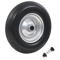 vidaXL Roda de carrinho de mão com eixo PU sólido 4.00-8 390 mm