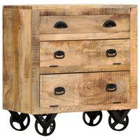vidaXL Armário lateral c/ rodas 70x40x75cm madeira de mangueira maciça