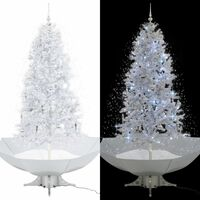 vidaXL Árvore de Natal c/ neve base formato guarda-chuva 190 cm branco