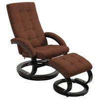 vidaXL Poltrona reclinável com apoio de pés tecido acamurçado castanho
