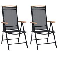 vidaXL Cadeiras de jardim dobráveis 2 pcs alumínio e textilene preto