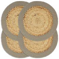 vidaXL Individuais de mesa 4 pcs juta e algodão 38 cm natural e cinza