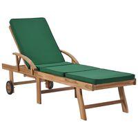 vidaXL Espreguiçadeira com almofadão madeira teca maciça verde