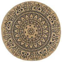 vidaXL Tapete artesanal em juta com impressão a azul-marinho 120 cm