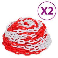 vidaXL Corrente de sinalização 2 pcs plástico 30 m vermelho e branco