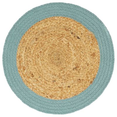 vidaXL Individuais de mesa 4 pcs juta e algodão 38 cm natural e verde