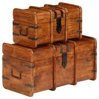 vidaXL Conj. de arcas 2 pcs madeira acácia maciça acabamento sheesham
