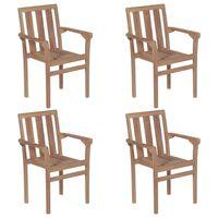 vidaXL Cadeiras de jardim empilháveis 4 pcs madeira de teca maciça