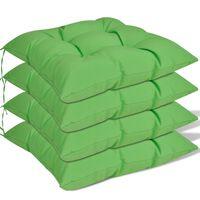 vidaXL Almofadas para cadeiras 4 pcs 40x40x8 cm verde