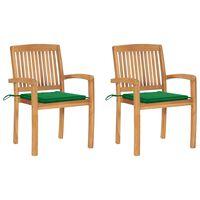 vidaXL Cadeiras de jardim c/ almofadões verdes 2 pcs teca maciça