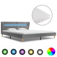 vidaXL Cama com LED e colchão 160x200cm tecido cinzento-claro
